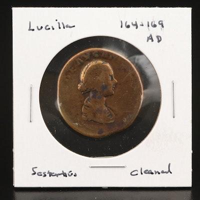 Ancient Roman Imperial AE Sestertius coin of Lucilla, ca. 161 AD