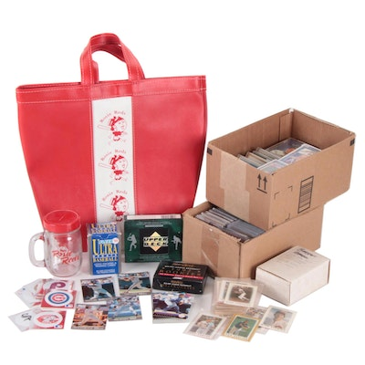 "1980s-1990s Baseball Cards and ""Rosie Reds"" Tote Bag and Glass Mug Bank"
