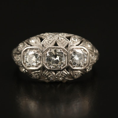 Art Deco Platinum 1.25 CTW Diamond Openwork Ring