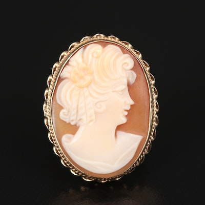 Vintage 14K Carved Shell Cameo Ring