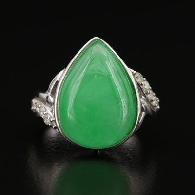Sterling Jadeite and Diamond Ring
