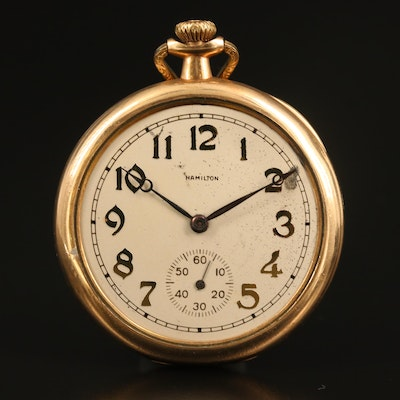 1917 Hamilton Gold Filled Open Face Pocket Watch