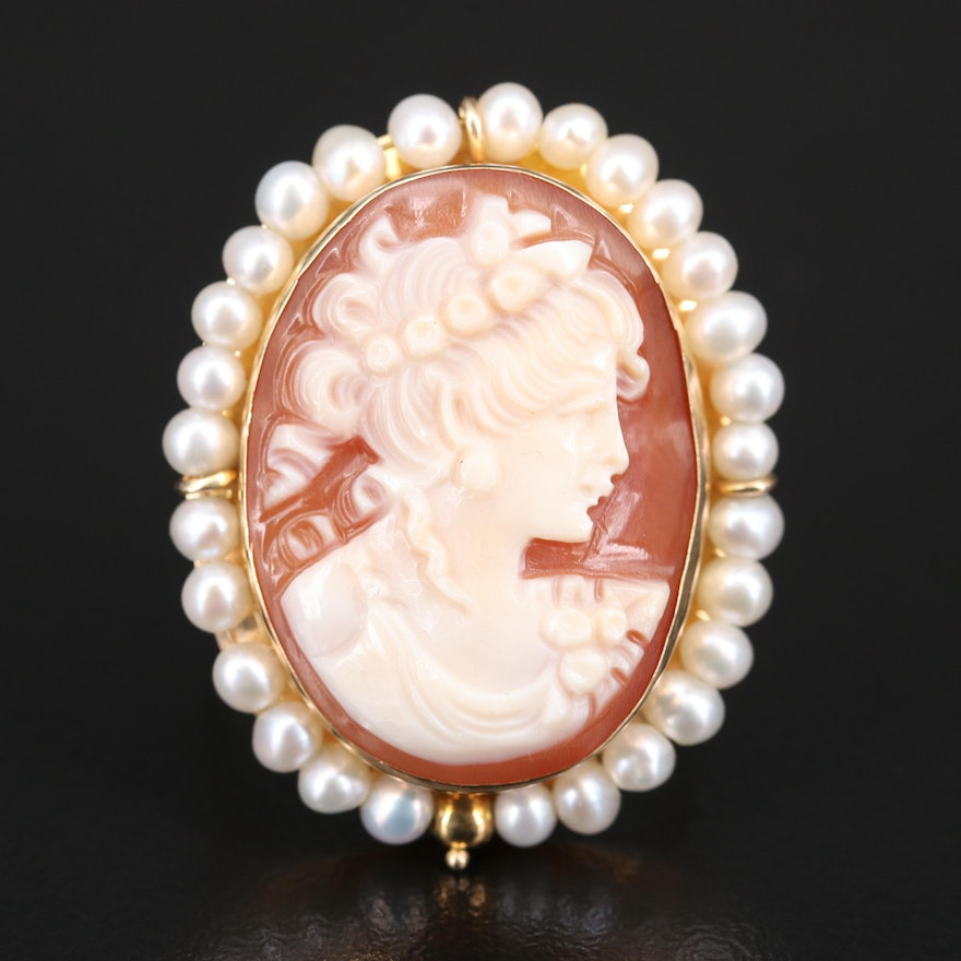 Italian 14K Shell Cameo and Pearl Halo Ring