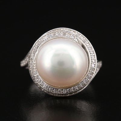 Sterling Pearl and Cubic Zirconia Spiral Ring