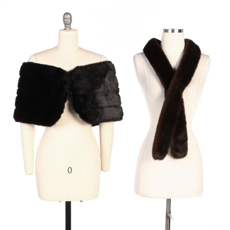 Black Faux Fur Stole and Brown Faux Fur Pelt