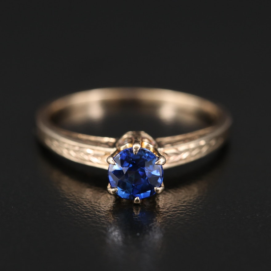 14K Sapphire Solitaire Ring with Engraved Shoulders