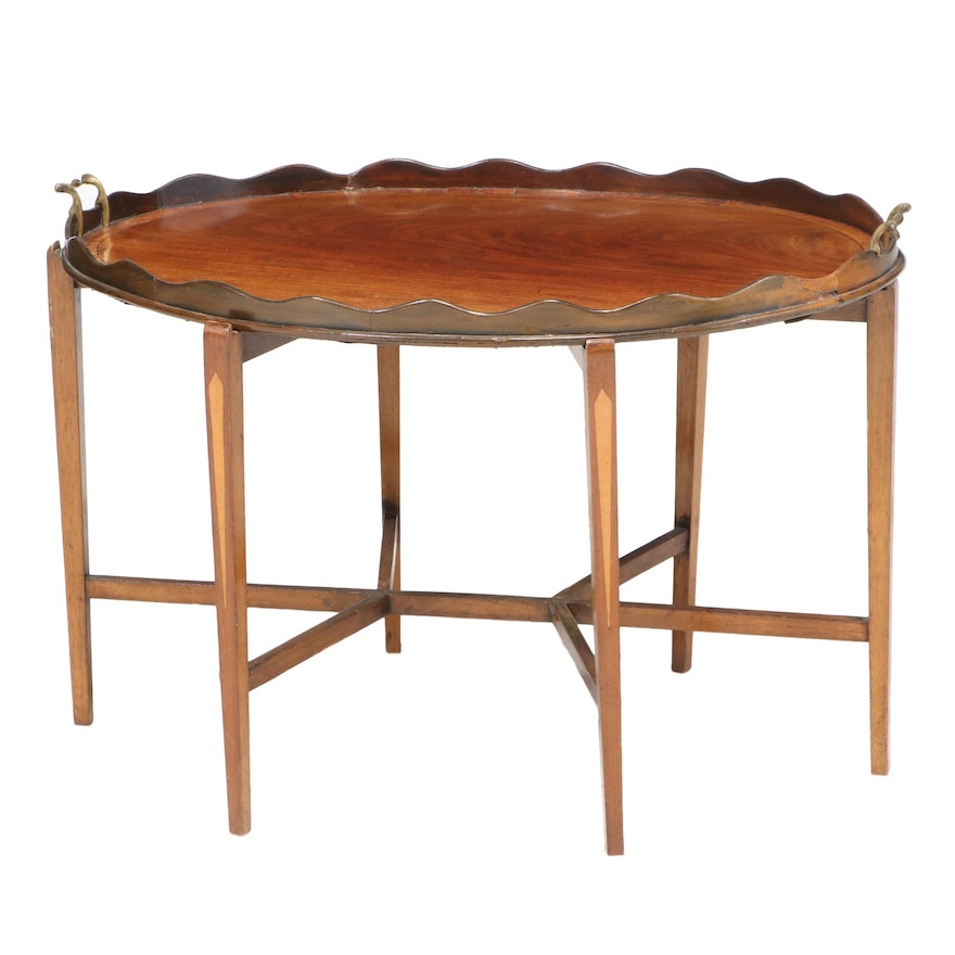George III Mahogany and Rosewood Cross-Banded Tray on Stand