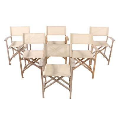 "Six Kingsley-Bate ""Capri"" Teak Patio Director's Chairs"