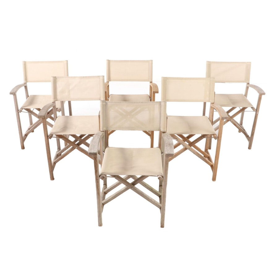 "Six Kingsley-Bate ""Capri"" Teak Patio Director's Chairs"