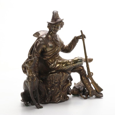 French Style Gilt Spelter Hunter with his Dog and Game Clock Mount, Antique