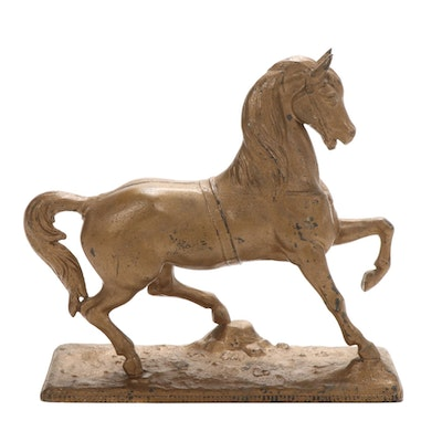 Nicholas Muller & Sons Cast Metal Horse Clock Topper, Late 19th/ Early 20th C.