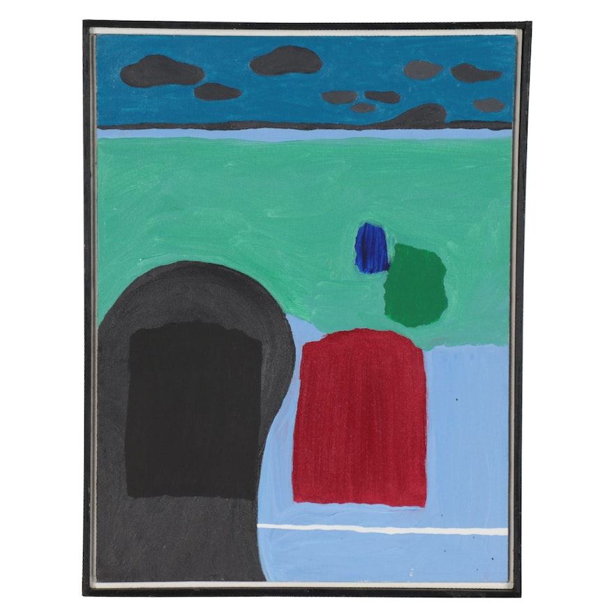 """Steven Dahlstrom Acrylic Painting """"In The Bay,"""" 1982"""