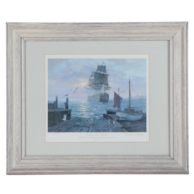 "Charles Vickery Offset Lithograph ""Sailing Into History"""