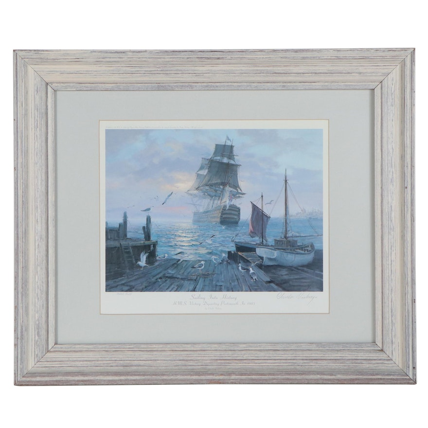 """Charles Vickery Offset Lithograph """"Sailing Into History"""""""