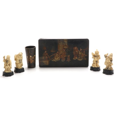 Japanese Lacquered Papier-Mâché Box and Brush Holder with Resin Deity Figurines