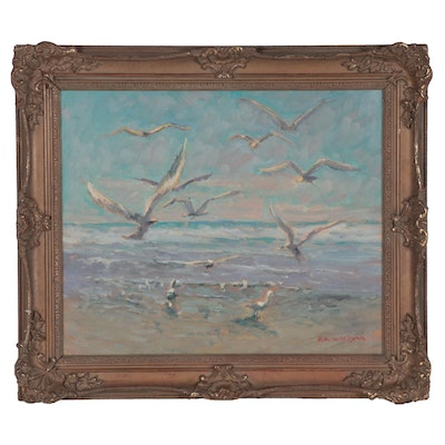 Robert Waltsak Oil Painting of Seagulls on the Beach