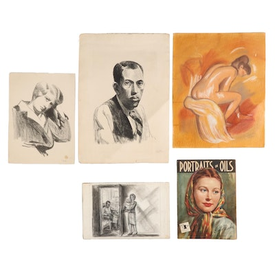 Pencil and Pastel Sketches, Lithographs, and Offset Lithograph Art Book