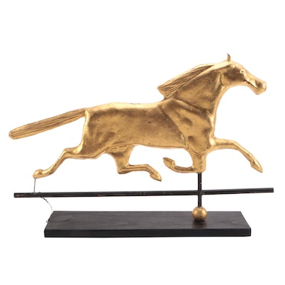 Mounted Gold Painted Copper Running Horse Weathervane Figure, 20th Century