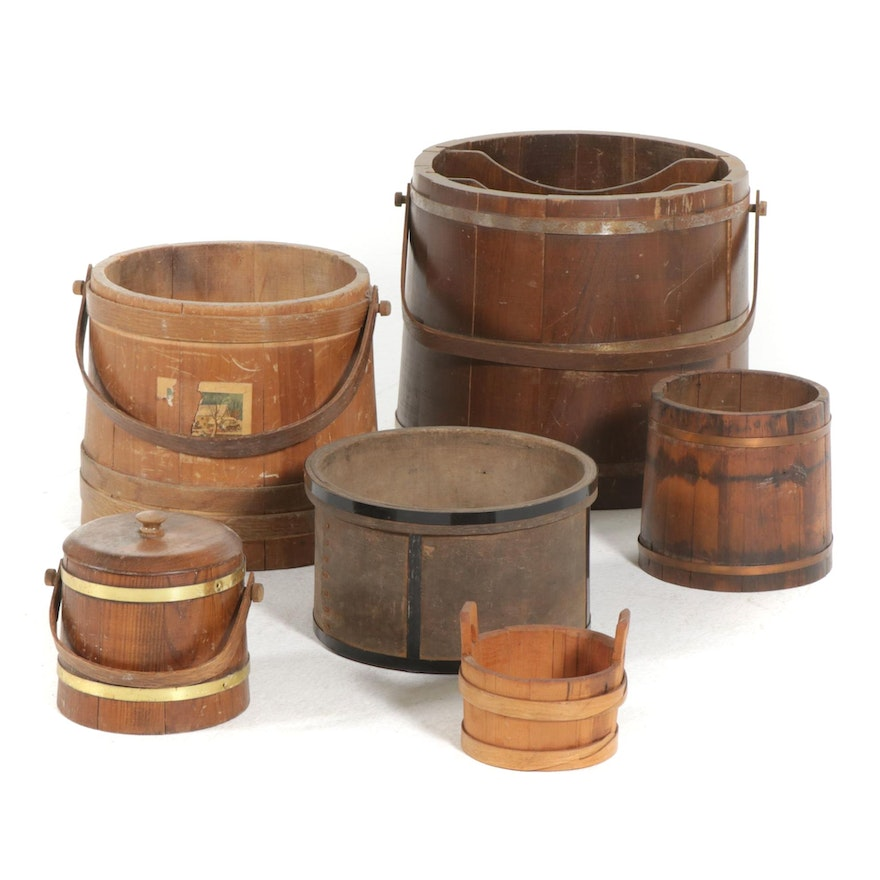 Basketville Putney and Other Wooden Firkins and Buckets, Mid-Late 20th Century