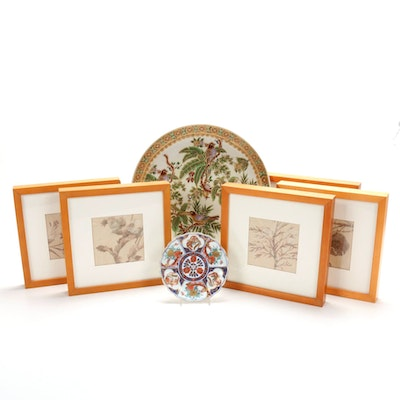 Hand-Painted Porcelain Plates and Framed Floral Fabric Swatches