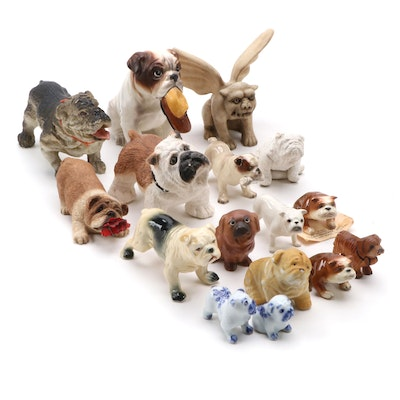 Array of Miniature Resin and Porcelain Bulldogs with Gargoyle Figurine