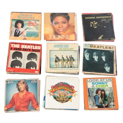 Sonny & Cher, Stevie Wonder, The Beatles, and Other Vinyl LP Records