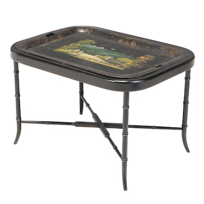 English Victorian Painted Tole Tray on Stand, Mid-19th Century