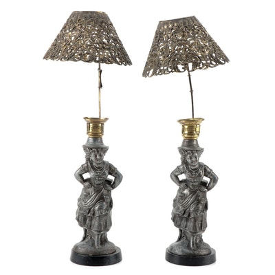Cast Spelter Figural Candlestick with Pierced Brass Shades