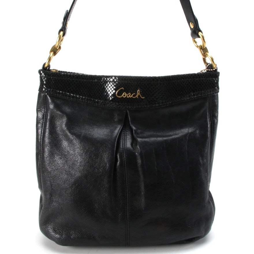 Coach Ashley Hippie Shoulder Bag in Black Grained Leather