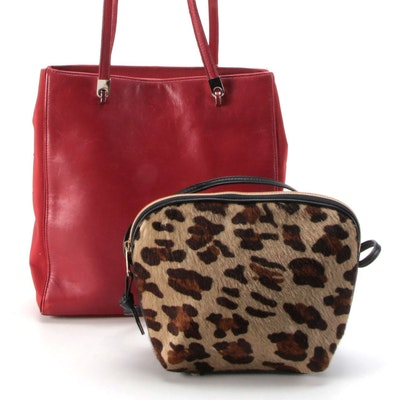 Saks Fifth Avenue Dyed Calf Hair and Jones New York Red Leather Shoulder Bags