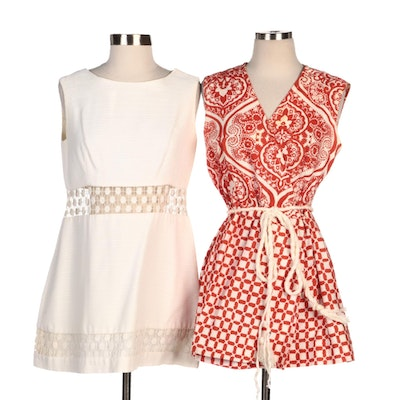 Vera Nautical Red Dress with Rope Belt and Gregg Draddy Dress with Crochet Lace