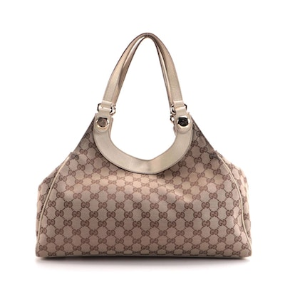 Gucci Charmy Shoulder Bag in GG Canvas and Ivory Leather Trim