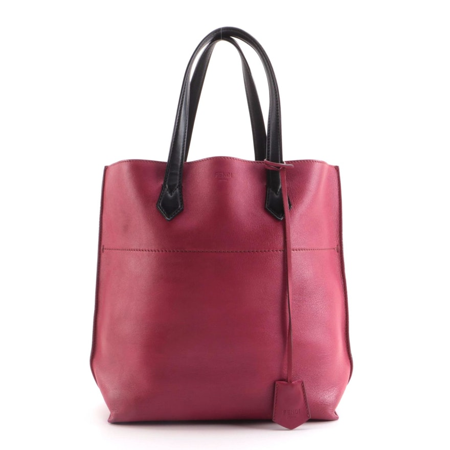 Fendi All In Shopping Tote Bag in Amarena Grained Leather
