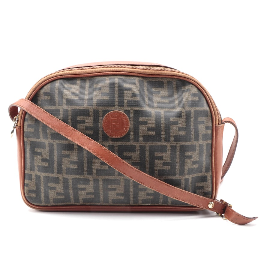 Fendi Crossbody Bag in Zucca Coated Canvas and Leather