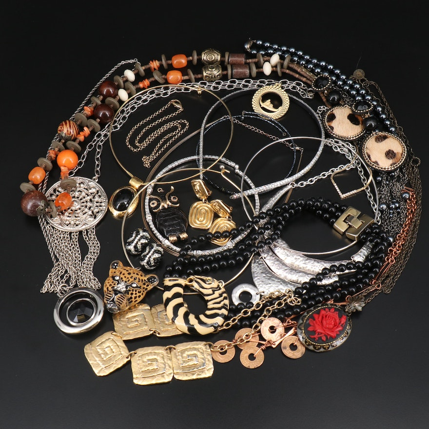 Wood, Coin and Rhinestone Jewelry Including Shelly Cooper and Richard Kerr