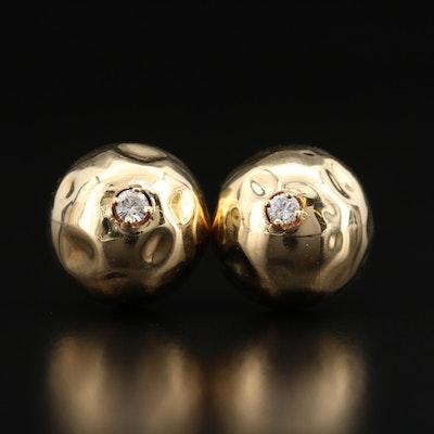 14K Diamond Textured Ball Stud Earrings