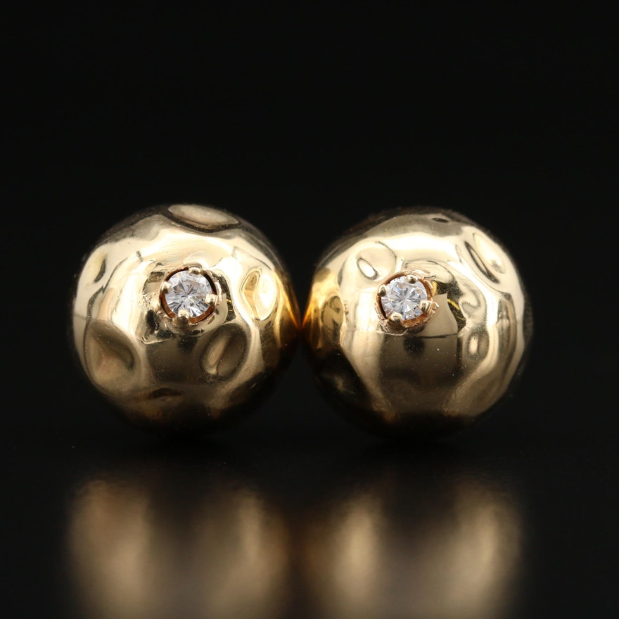 14K Diamond Textured Ball Stud Earrings