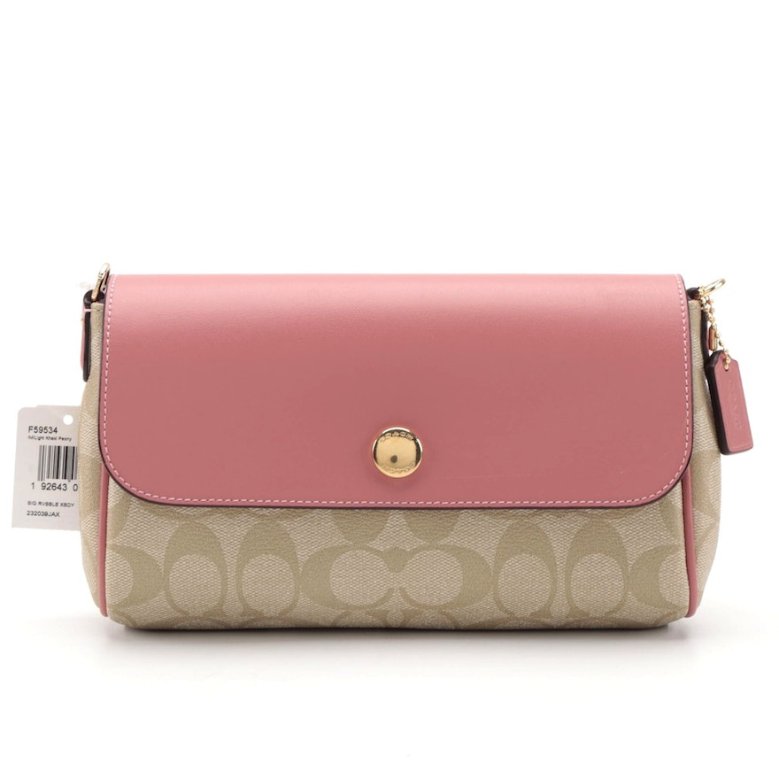Coach Reversible Crossbody Bag in Light Khaki Signature Canvas and Peony Leather