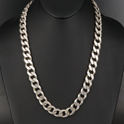 Italian Sterling Silver Curb Chain Necklace
