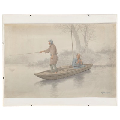 Watercolor Painting of Fishermen