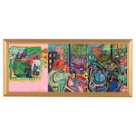 Eric Lubkeman Triptych Acrylic Painting of Couples Embracing on City Street