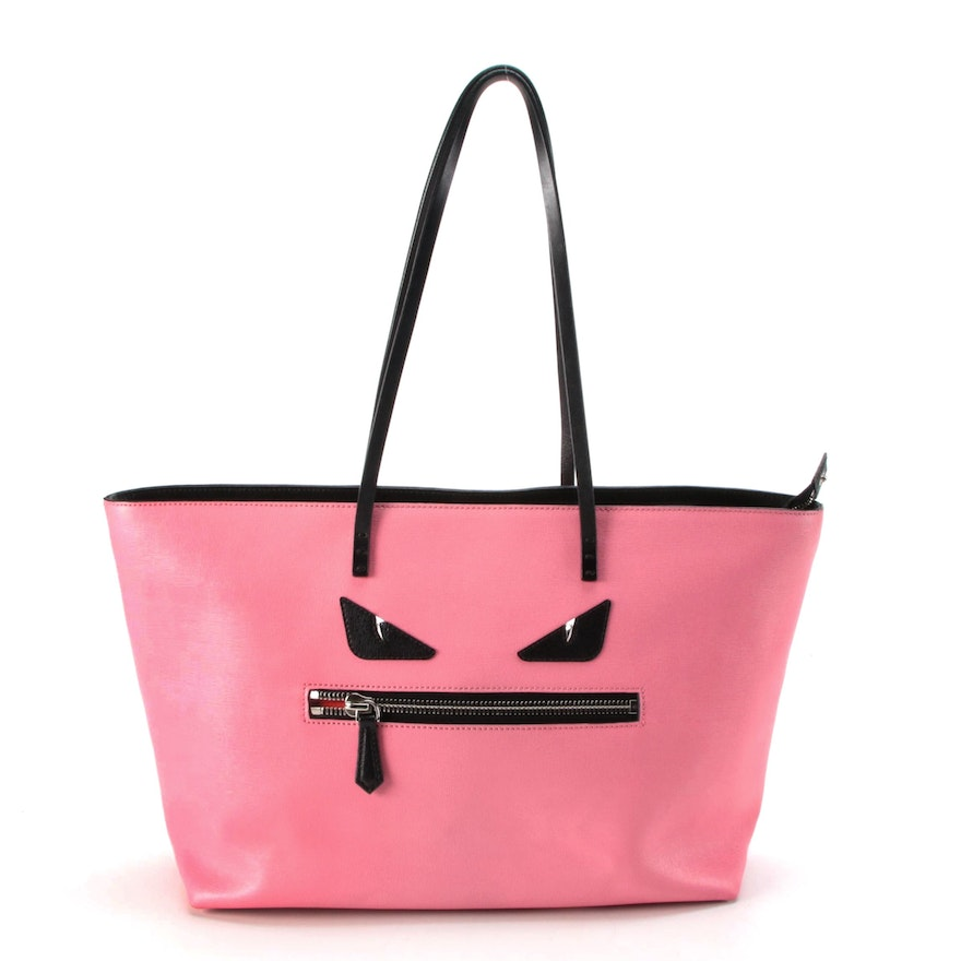 Fendi Monster Roll Tote Bag in Pink/Black Vitello Elite Leather
