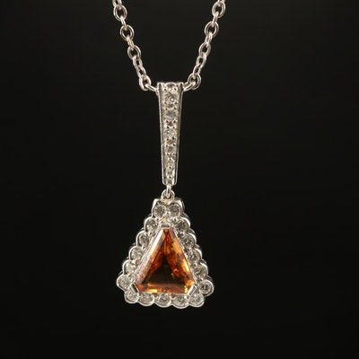 14K Topaz and Diamond Triangular Necklace