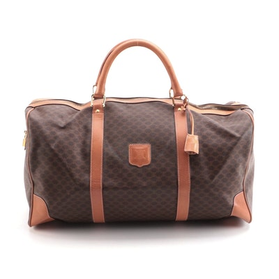 Celine Duffel Bag in Macadam Coated Canvas with Leather Trim