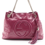 Gucci Soho Chain Strap Shoulder Bag in Fuchsia Patent Leather with Tassel