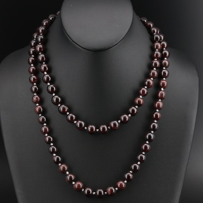 Garnet Beaded Necklace with 10K Clasp