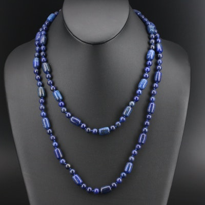 Beaded Lapis Lazuli Necklace with 14K Clasp