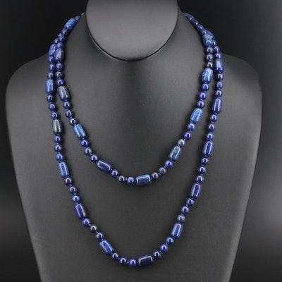 Beaded Lapis Lazuli Necklace with 14K Clasp
