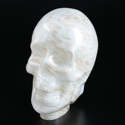 Mold-Blown Glass Skull, Late 20th Century