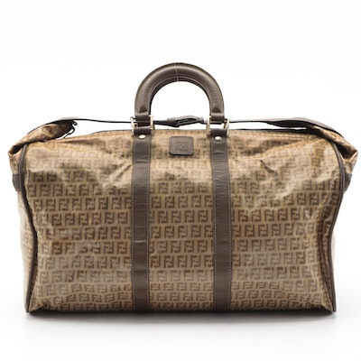 Fendi Duffle Bag in Zucchino Jacquard and Leather Trim